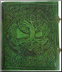 Tree of Life green leather w/ latch