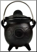 Triple Moon Cast Iron Cauldron w/ Lid 3""