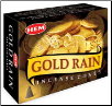 Gold Rain HEM Cone Incense 10 Pack