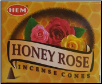 Honey Rose HEM Cone Incense 10 Pack