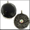 Fancy Pentagram with Black Onyx Scrying Disk Pendant