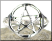 Silver Plated Brass Pentagram Ring (Size 9)