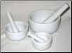 Set of 3 White Ceramic Mortar and Pestles