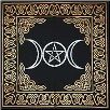 Triple Moon With Pentagram Altar Cloth