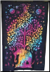 "Elephant Tree Tie Dye Tapestry  54"" x 86"""