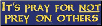 It's Pray for NOT Prey On Others - Bumper Sticker