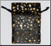 "Black Organza Pouch with Gold Stars  2 3/4"" x 3"""