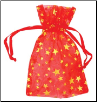 "Red Organza Pouch with Gold Stars  2 3/4"" x 3"""