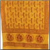 "Shiva, Parvati, Ganesh Yellow Prayer Shawl    44""x 87"""